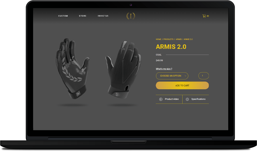 Invictus Gloves - Site de commerce en ligne & Visualisateur 3D