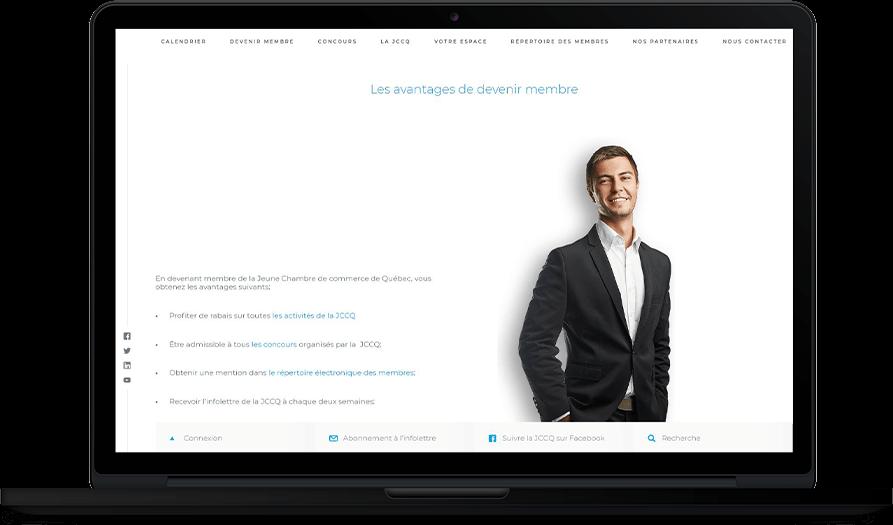 Jeune Chambre de Commerce de Québec – Site Web