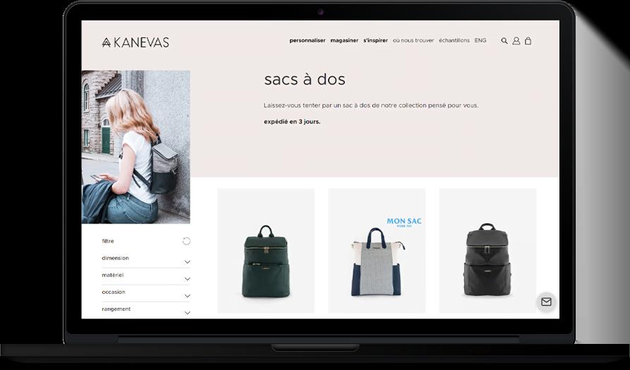 E-commerce moderne et épuré pour Kanevas