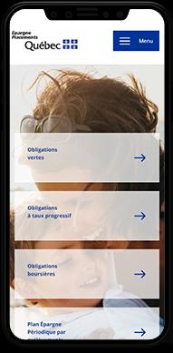 Nouveau site web moderne d'Épargne Placements Québec sur mobile