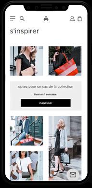 Représentation du e-commerce Kanevas sur écran cellulaire