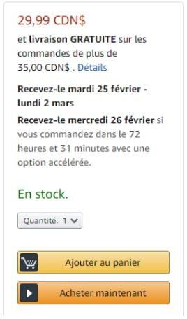 Appel à l'action sur une page de produit Amazon